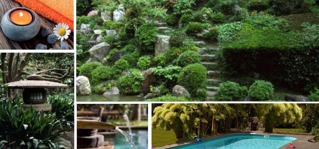 Japánkert lámpással, csobogóval, medencével
